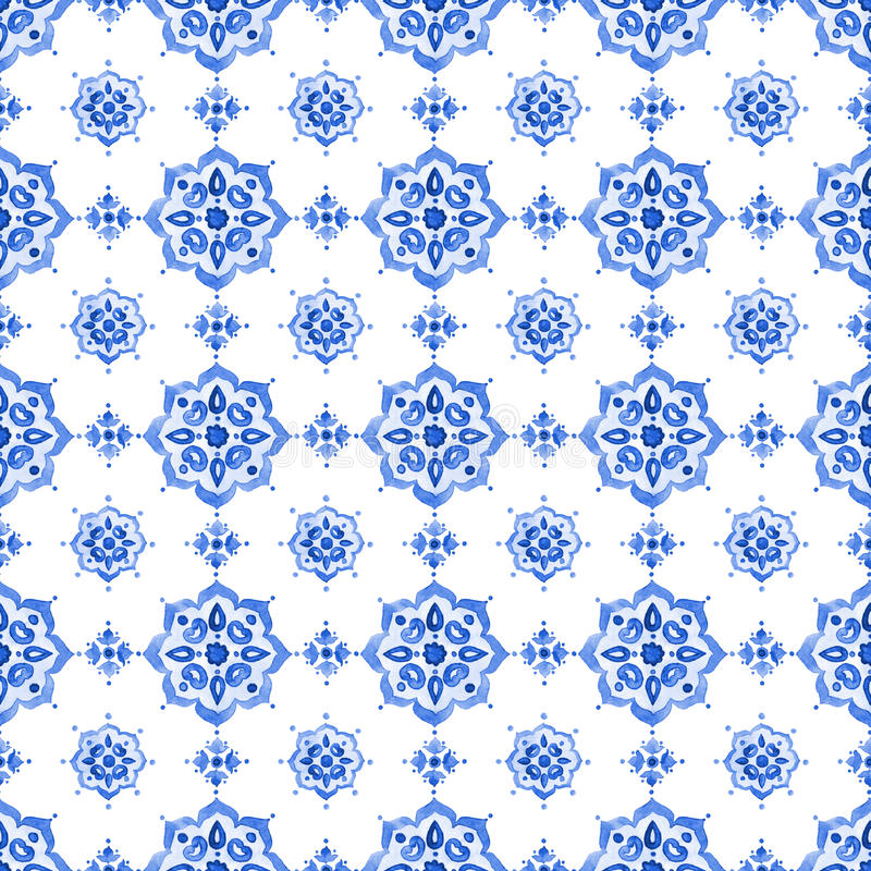 Watercolor blue lace pattern stock photos