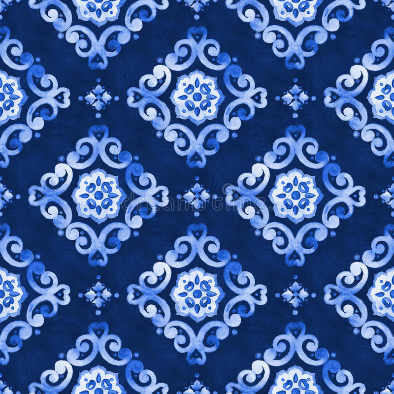 Watercolor blue lace pattern stock photo