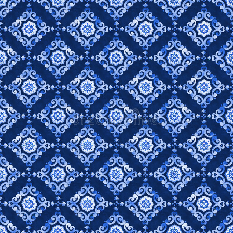 Watercolor blue lace pattern royalty free illustration