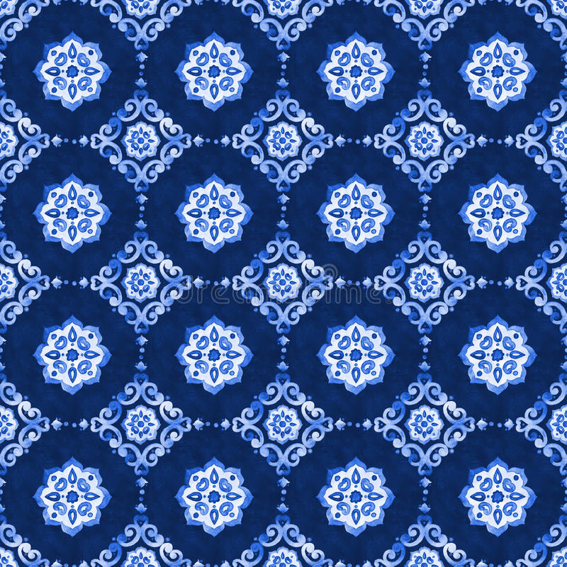 Watercolor blue lace pattern royalty free stock photography