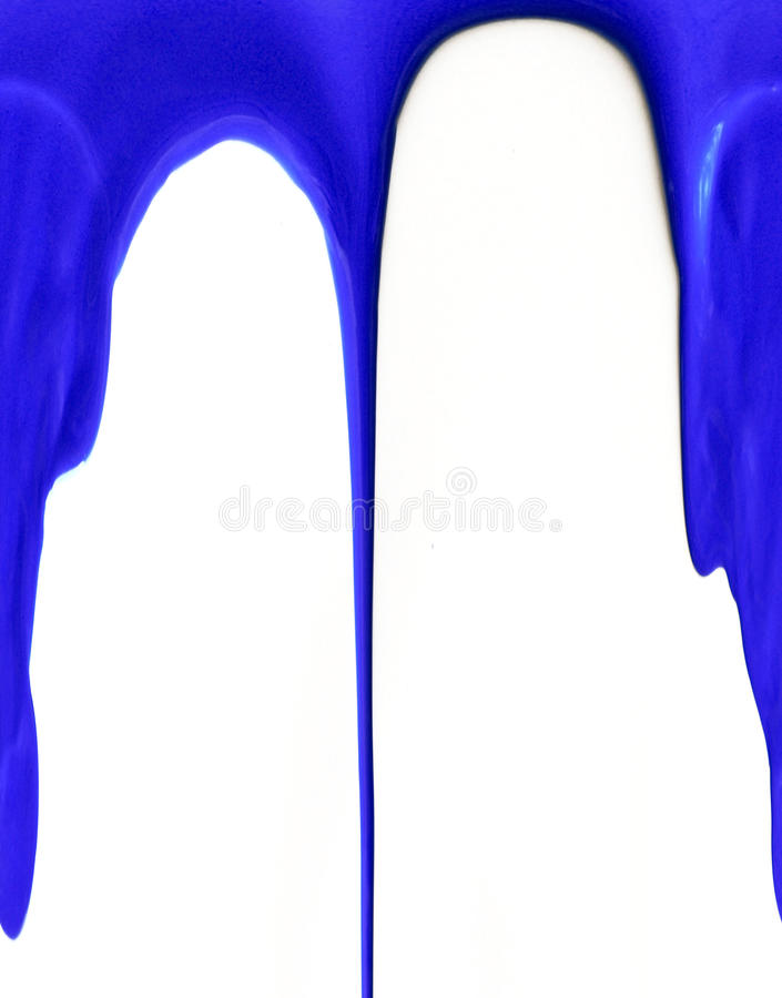 Watercolor blue paint dripping isolated on white background royalty free stock images