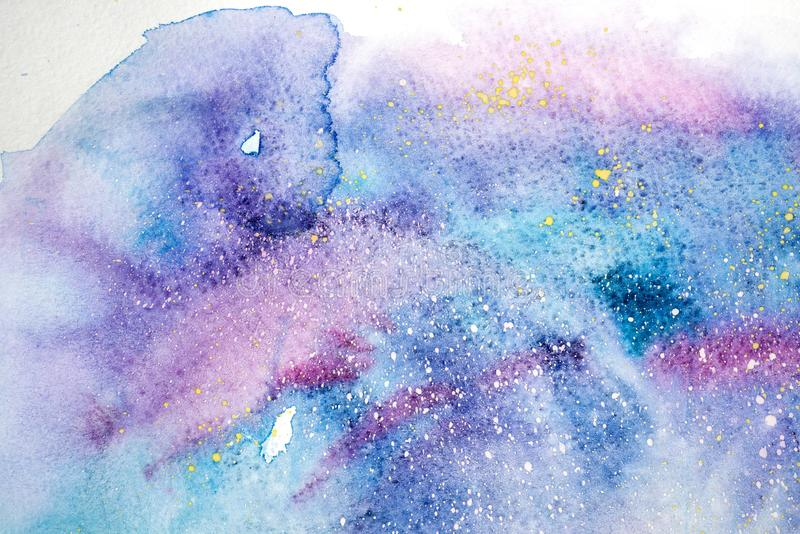 Watercolor blue pink purple stain drips blobs. Abstract watercolour illustration. Watercolor blue pink purple stain drips blobs. Abstract watercolour stock illustration