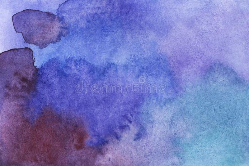 Watercolor blue and purple abstract background. stock photos