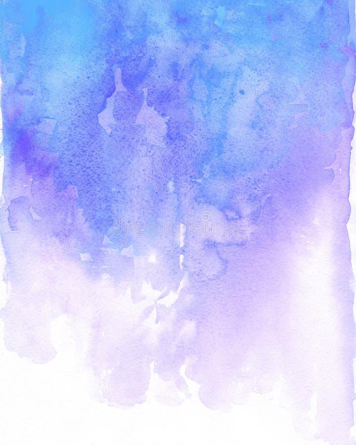 Watercolor blue and purple background flow. Light blue splash stock illustration