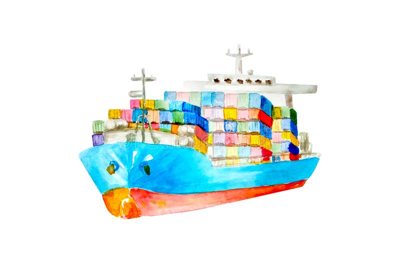 Watercolor blue and red cargo commercial ship with many colored containers on board isolated cut out on white background. Great design for any logistic vector illustration