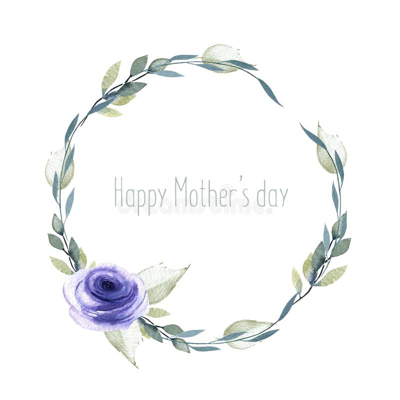 Watercolor blue rose and branches wreath, greeting card template, hand painted on a white background royalty free illustration