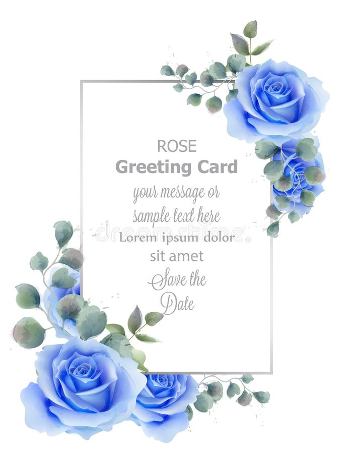 Watercolor blue rose flower card Vector. Vintage greeting, wedding invitation, thank you note. Summer floral decor stock illustration