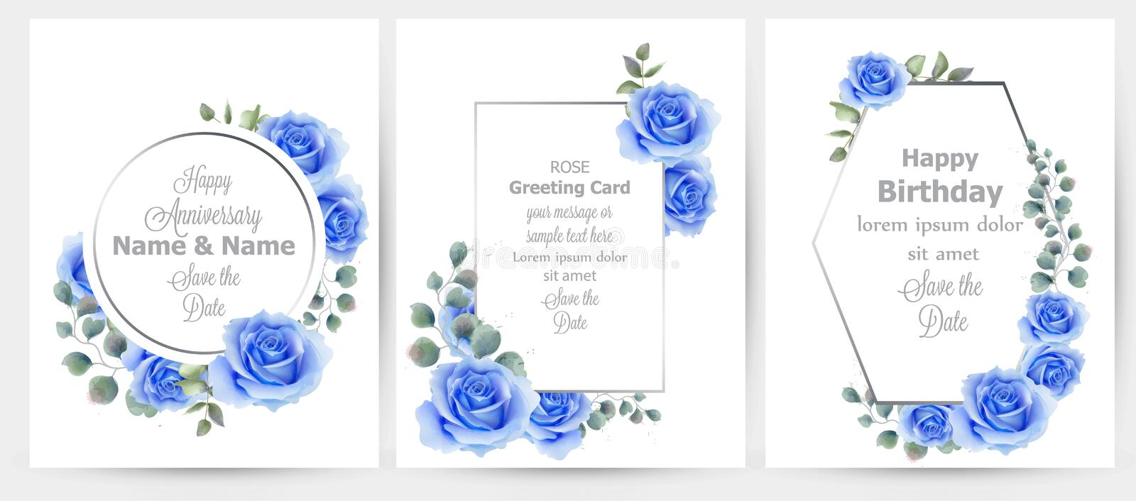 Watercolor blue rose flowers cards set collection Vector. Vintage greeting card, wedding invitation, thank you note royalty free illustration