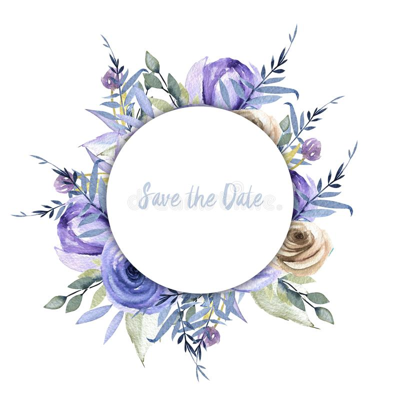 Watercolor blue roses and branches round frame border, hand painted on a white background stock illustration