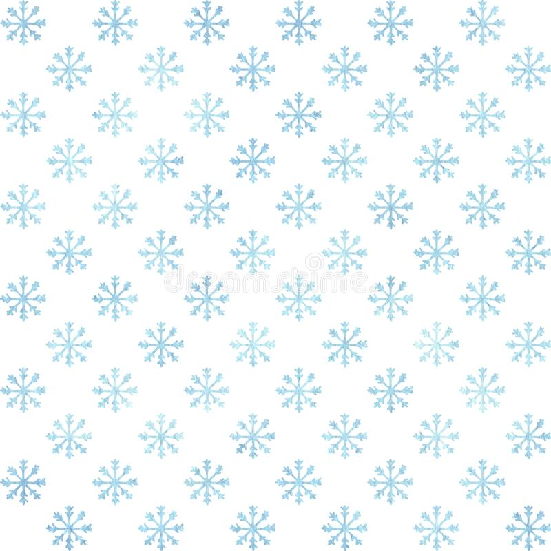 Watercolor blue snowflakes seamless pattern on the white background. Winter decoration. vector illustration