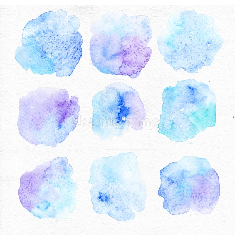 Watercolor blue splash, watercolor texture, watercolor elements background. Watercolor blue splash, collection of watercolor hand painted design elements stock illustration