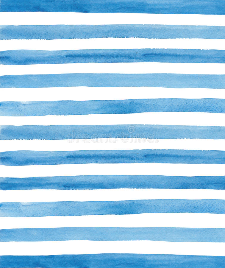Watercolor blue stripes background. Hand painted lines vector illustration