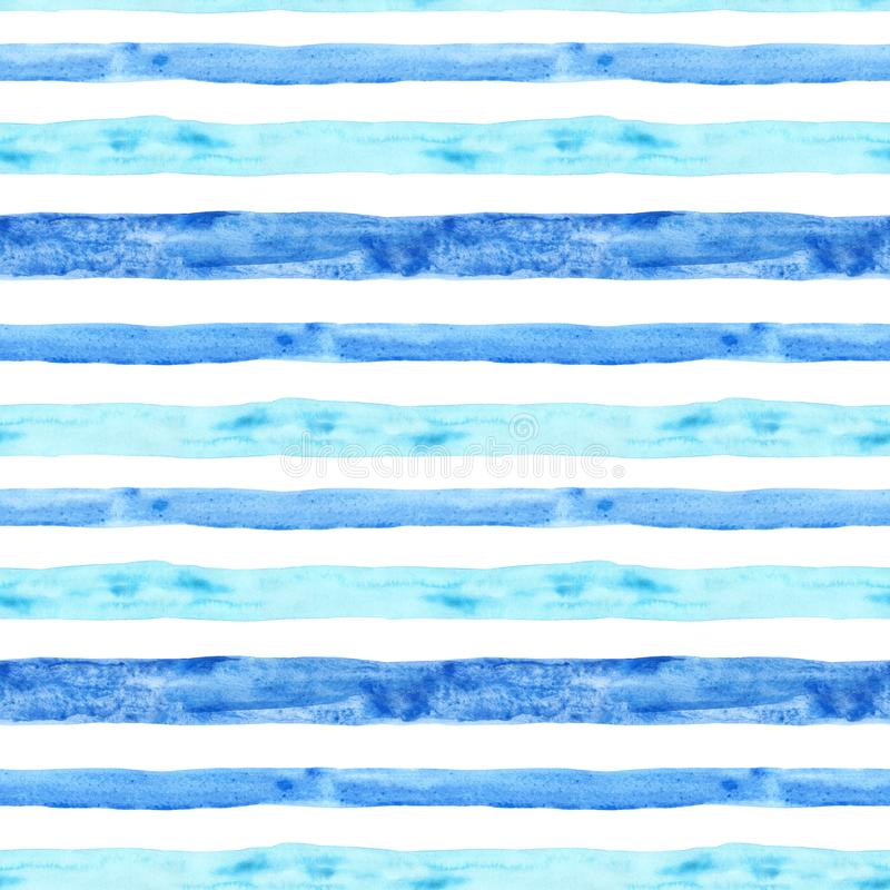 Watercolor blue stripe seamless pattern. Summer hand painted background with stripes. Nautical marine print stock illustration