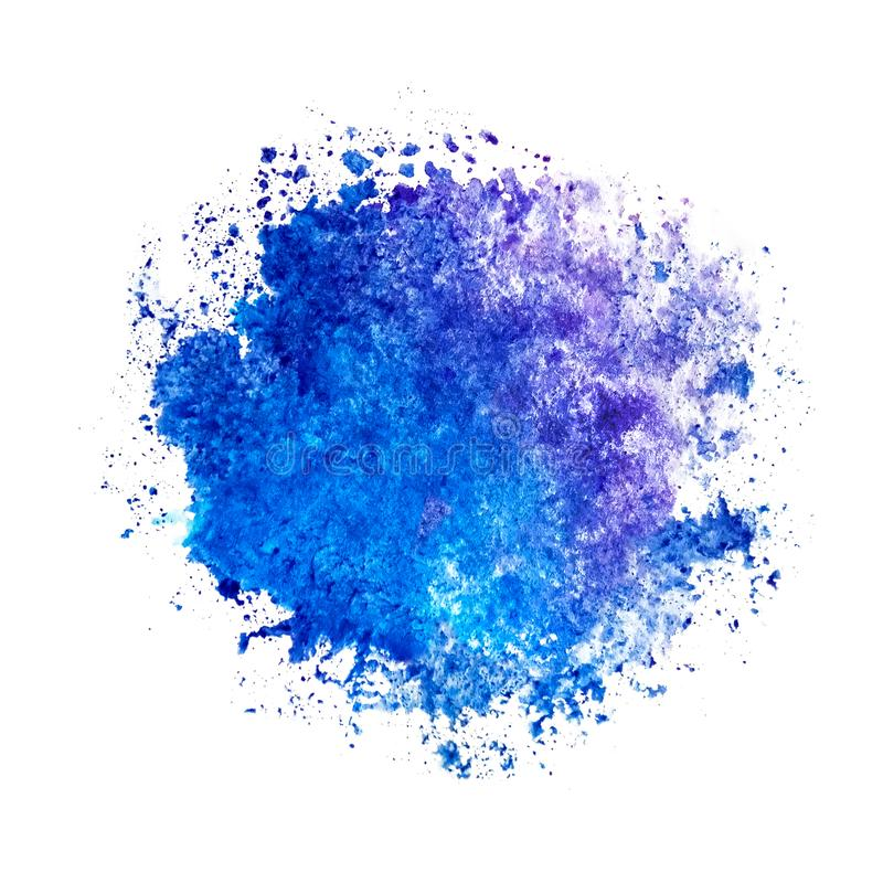 Watercolor blue ultramarine round spot blot on a white background isolated as a template, frame, example. Watercolor blue ultramarine round spot blot on a white royalty free stock photos