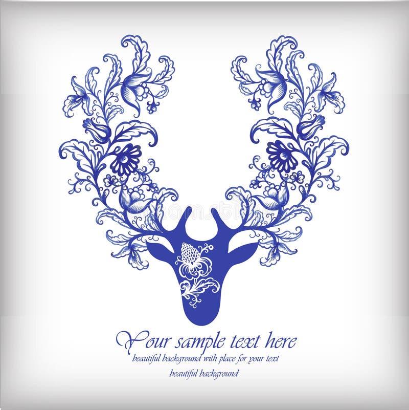 Watercolor blue vector deer with antlers . vector illustration