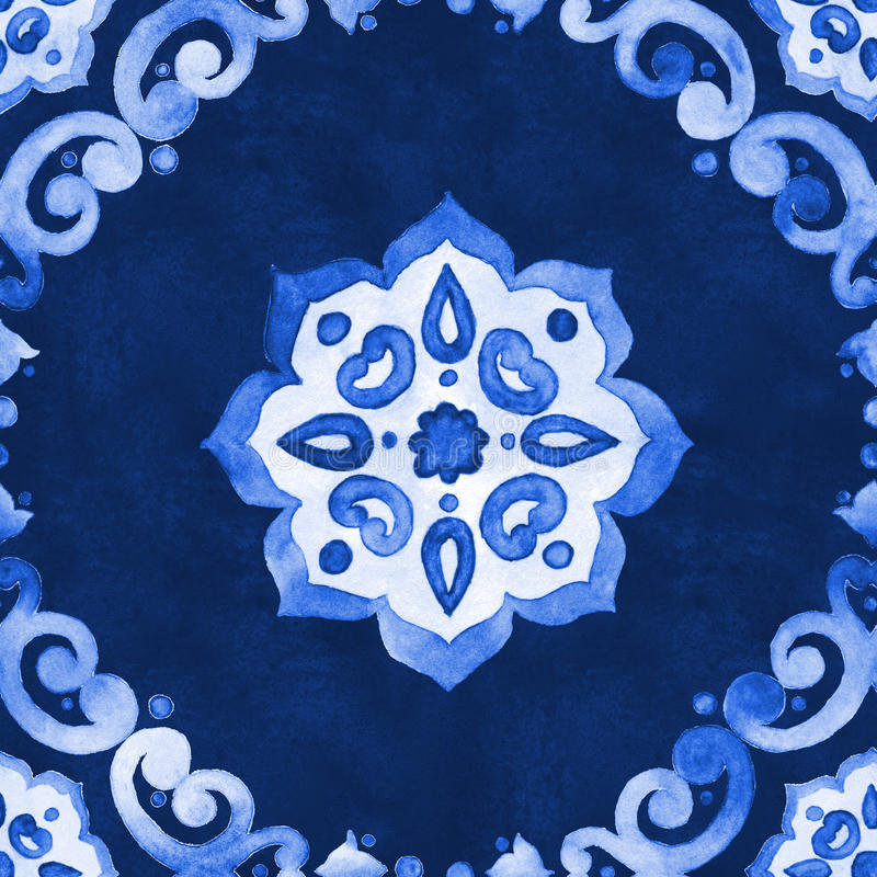 Watercolor blue velour pattern royalty free illustration