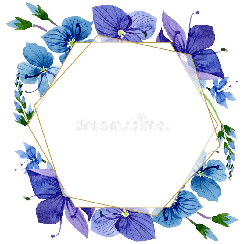 Watercolor blue Veronica flower. Floral botanical flower. Frame border ornament square. Aquarelle wildflower for background, texture, wrapper pattern, frame or vector illustration
