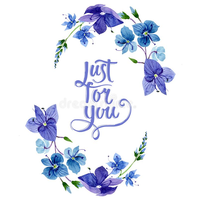 Watercolor blue Veronica flower. Floral botanical flower. Frame border ornament square. Aquarelle wildflower for background, texture, wrapper pattern, frame or stock illustration