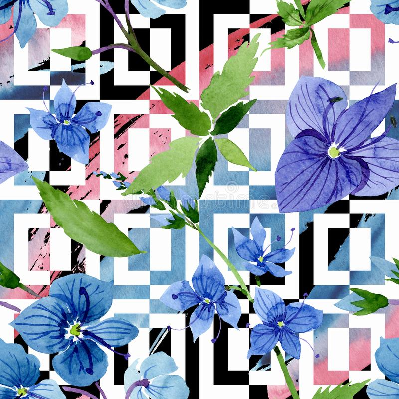 Watercolor blue Veronica flower. Floral botanical flower. Seamless background pattern. Fabric wallpaper print texture. Aquarelle wildflower for background stock illustration