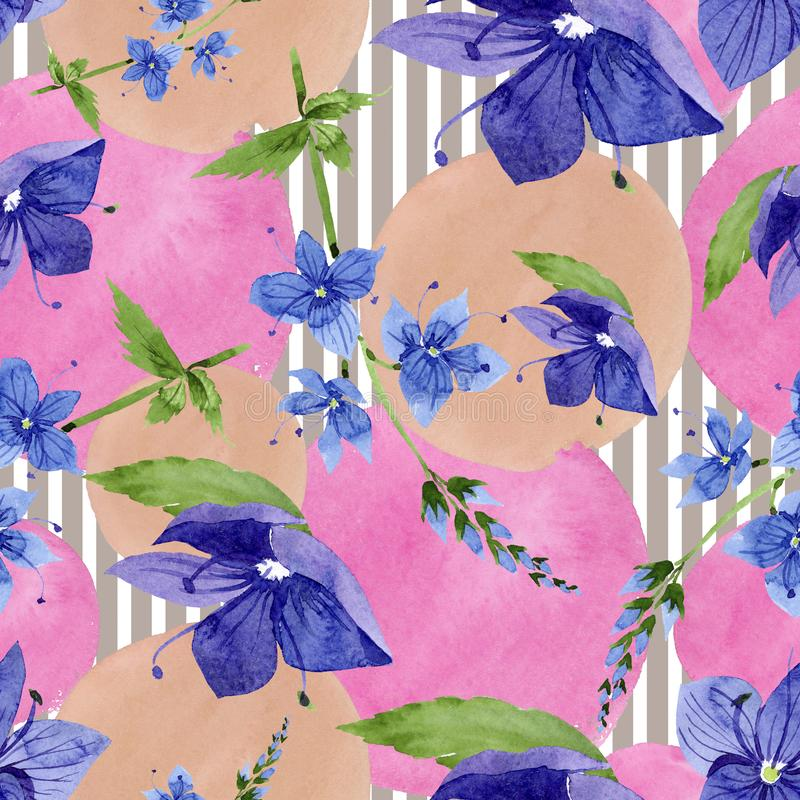 Watercolor blue Veronica flower. Floral botanical flower. Seamless background pattern. Fabric wallpaper print texture. Aquarelle wildflower for background vector illustration