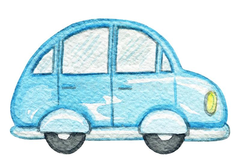 Watercolor blue vintage car. Blue retro cartoon car isolated on white background. Watercolor hand painted illustration vector illustration