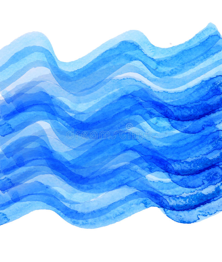 Watercolor blue wave draw. Background stock illustration
