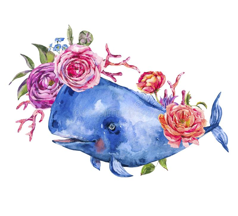 Watercolor blue whale with rose, anemones, summer flowers, red coral vector illustration