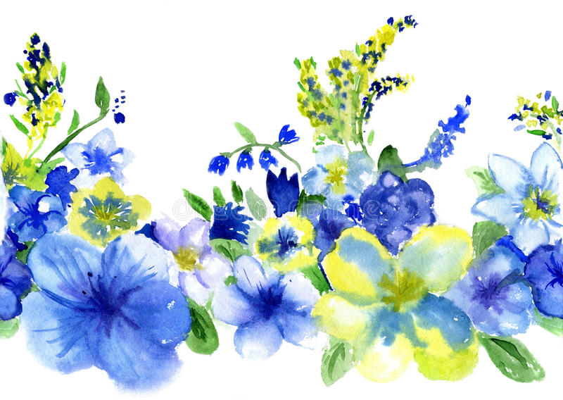 Watercolor blue and yellow flowers stock illustration