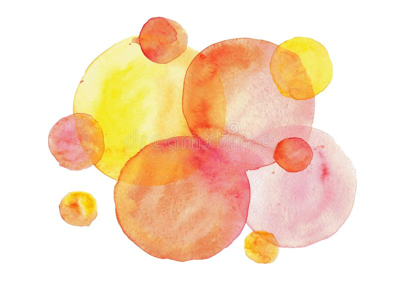 Watercolor blurred abstract background with round shapes in yellow, red and pink colors royalty free illustration