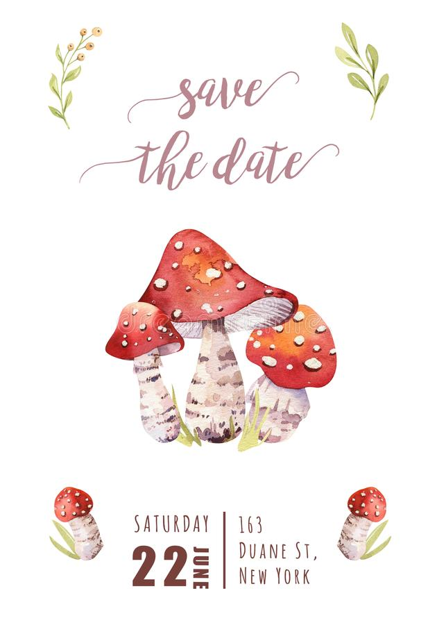 Watercolor bohemian forest mushrooms poster, woodland isolated amanita illustration, fly agaric, boletus, orange-cap. Watercolor bohemian forest mushrooms set stock illustration