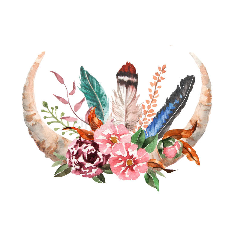 Watercolor boho chic image Flowers, feathers, animal elements stock illustration