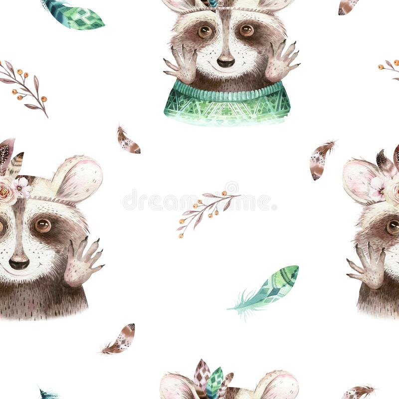 Watercolor boho floral raccoon seamless pattern with feather. bohemian natural background: leaves, feathers, flowers stock illustration