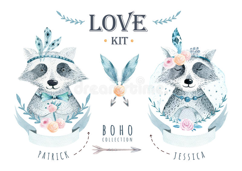Watercolor boho floralelements with raccoon. Watercolour bohemia vector illustration
