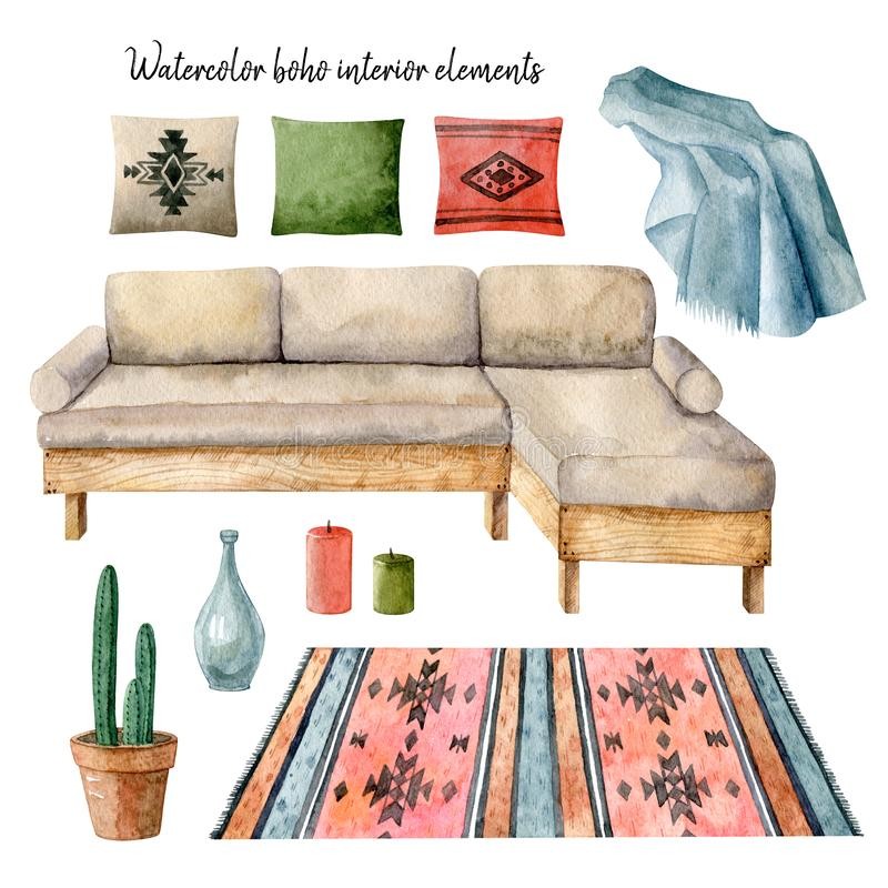 Watercolor boho interior elements. Hygge style, scandinavian interior. Handdrawn clipart. Isolated on white background vector illustration