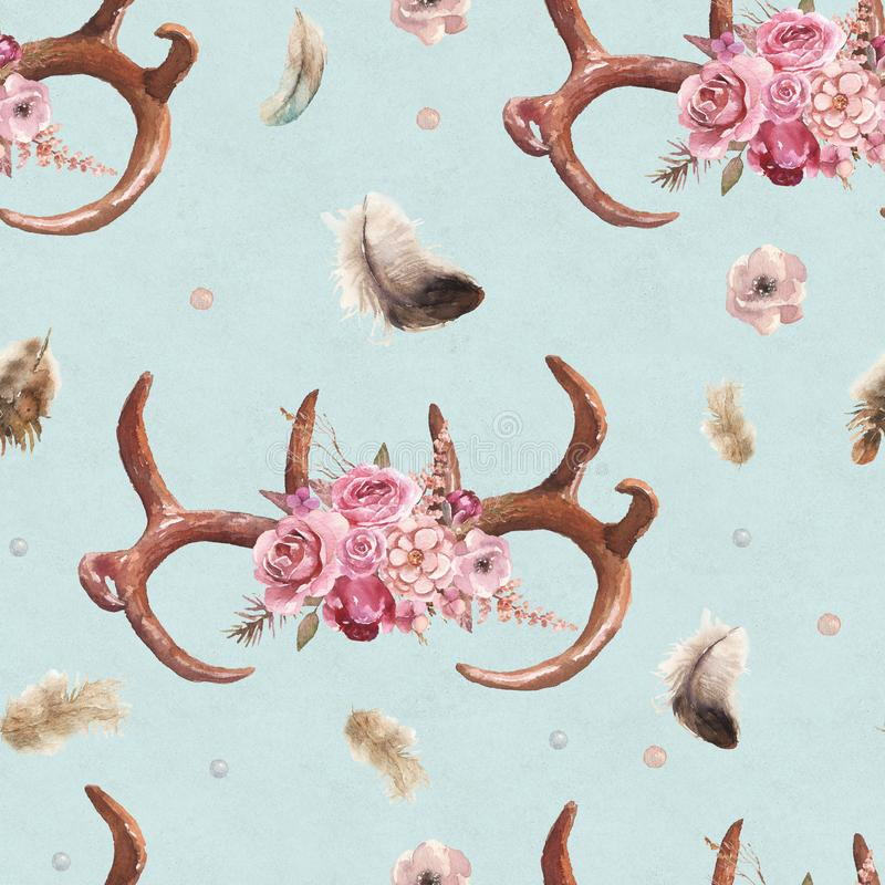 Watercolor boho seamless pattern of feathers, antlers & floral arrangement on bright blue background stock illustration