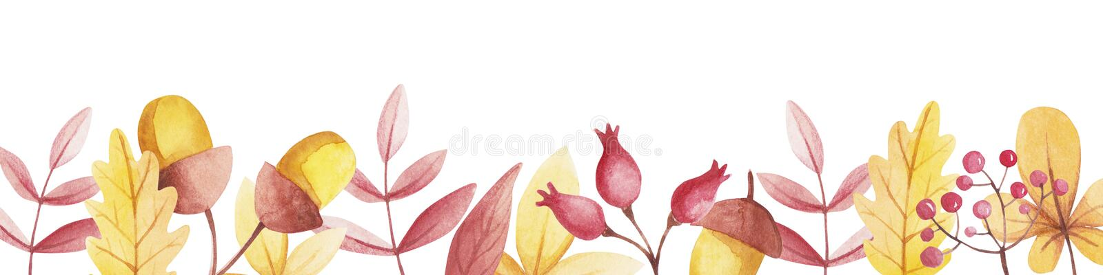 Watercolor border with copy space of rose hips and mountain ash. Watercolor border with copy space of rose hips and mountain ash vector illustration