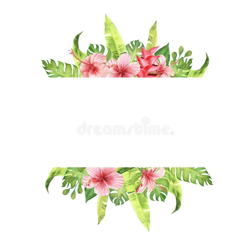 watercolor border frame Pink tropical flowers and leaves. monstera and hibiscus bouquet. royalty free illustration