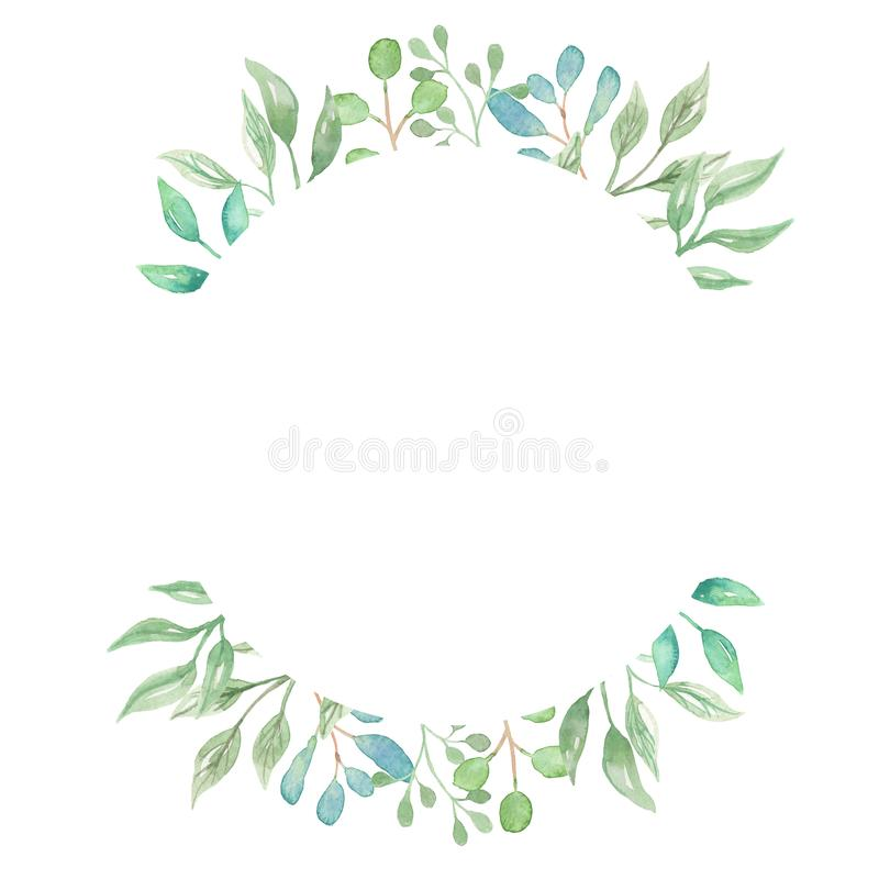 Watercolor Border Greenery Foliage Leaves Leaf Green Frame Wedding Spring Summer. Watercolor Cactus Succulents Wedding Spring Summer Wreath Garland - perfect royalty free illustration