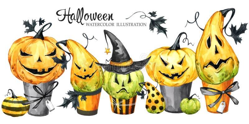 Watercolor border, set of cakes with cartoon pumpkins. Halloween holiday illustration. Funny dessert. Magic, symbol of vector illustration