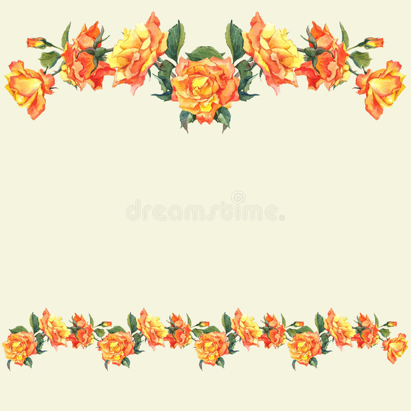 Download Watercolor Border And Vignettes With Roses Stock Image
