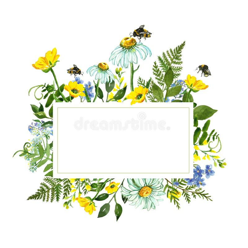 Watercolor botanical border with colorful yellow and blue wild flowers, green leaves, herbs and honey bee. Summer holiday card vector illustration