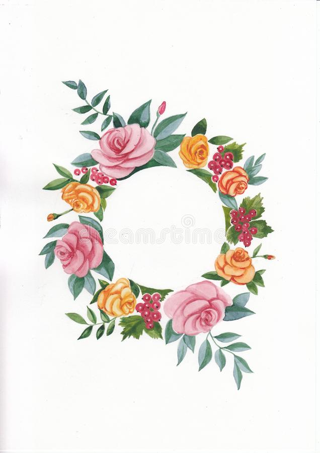 Watercolor illustration of flowers wreath. Watercolor botanical illustration of flowers wreath with roses. Greeting card vector illustration