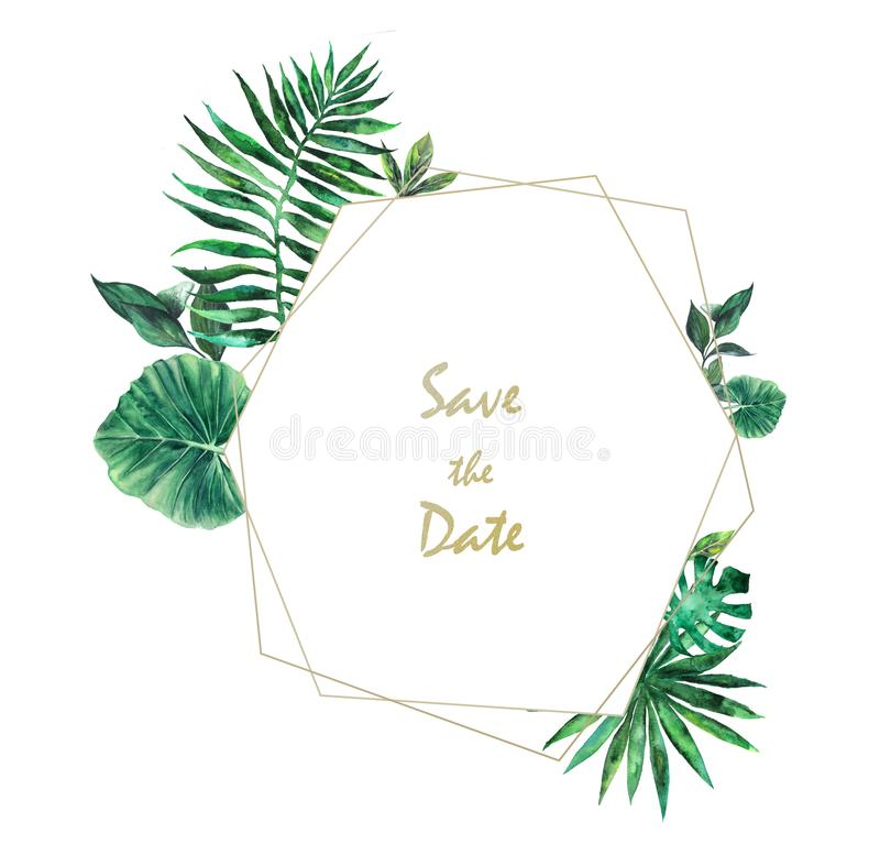 Watercolor botanical invitation card with palm leaves stock images