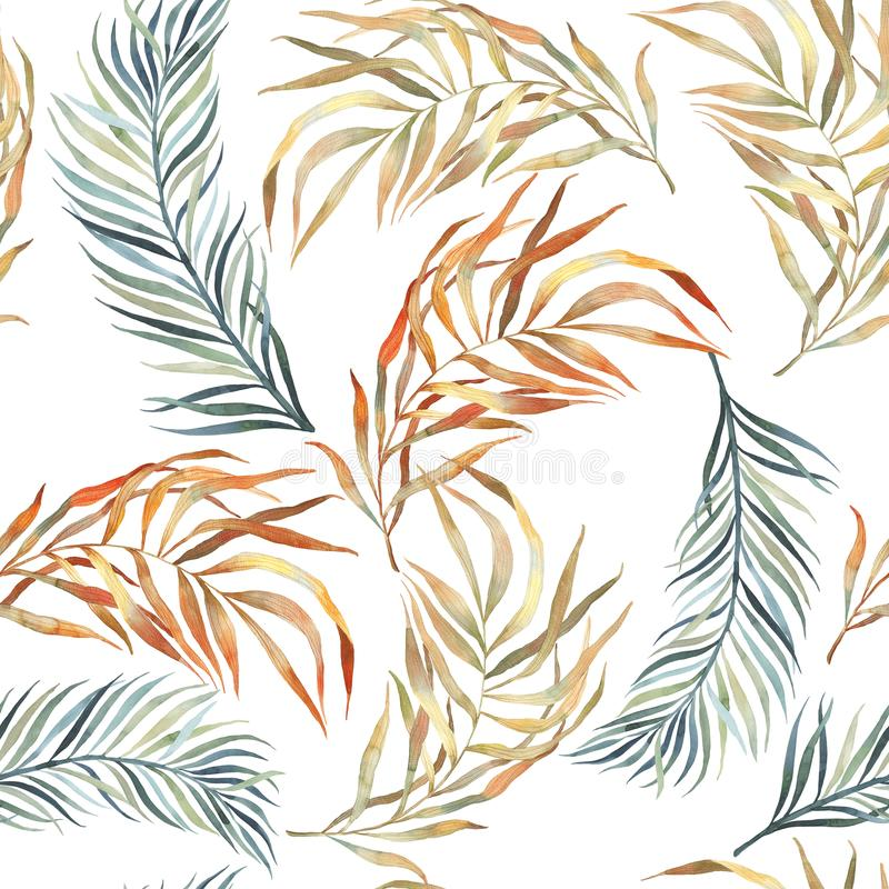 Watercolor botanical pattern. Seamless pattern. Textile design. Wrapping paper, gift wrap. Autumn foliage, brown, yellow colors. A royalty free illustration