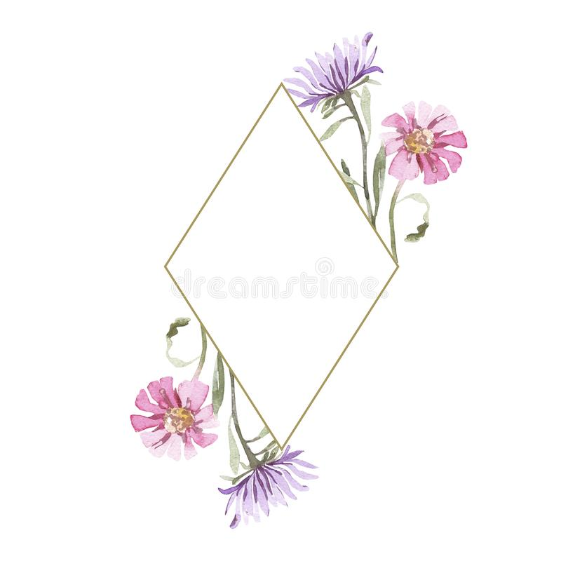 Watercolor botanical Rhombus frame. Wild spring flowers. Multi-colored bright bouquet. Watercolor botanical Rhombus frame Wild spring flowers. Multi-colored royalty free illustration