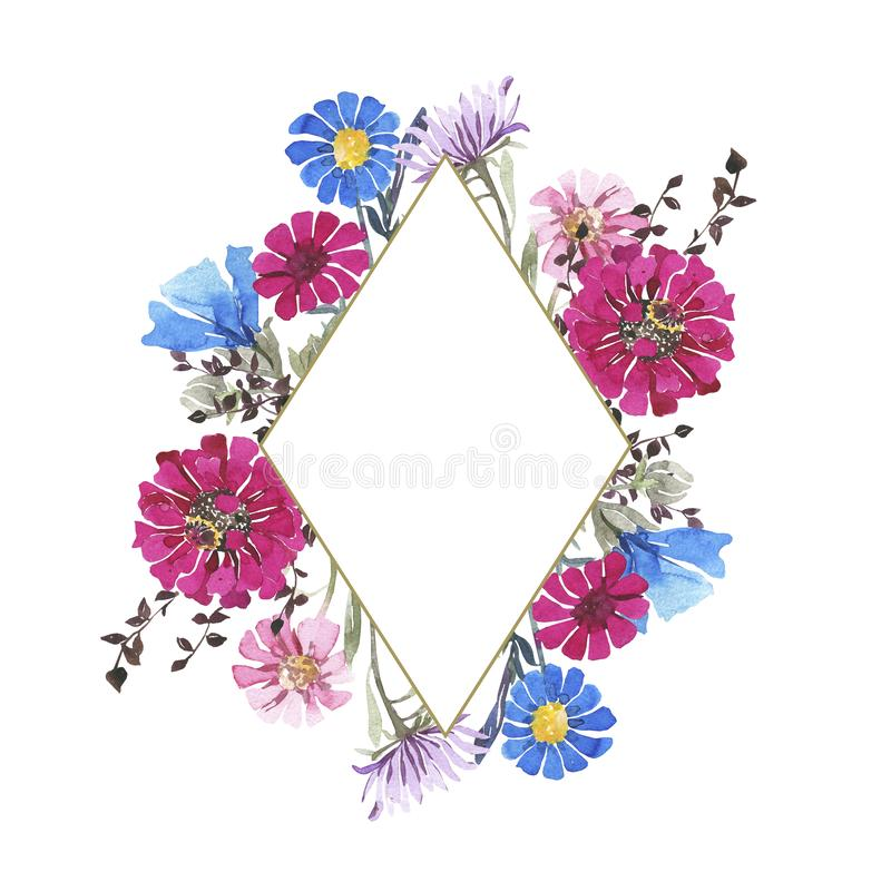 Watercolor botanical Rhombus frame. Wild spring flowers. Multi-colored bright bouquet. Watercolor botanical Rhombus frame Wild spring flowers. Multi-colored stock illustration