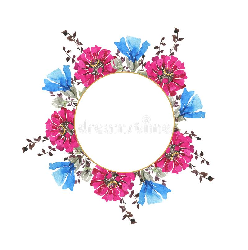 Watercolor botanical round frame. Wild spring flowers. Multi-colored bright bouquet. Pink gerberas, blue cornflowers, herbs. Wedding invitation, greeting card vector illustration