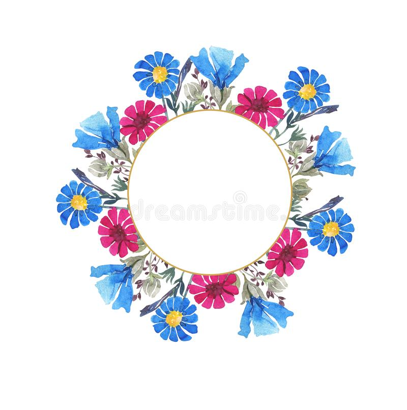 Watercolor botanical round frame. Wild spring flowers. Multi-colored bright bouquet. Pink gerberas, blue cornflowers, herbs. Wedding invitation, greeting card royalty free illustration