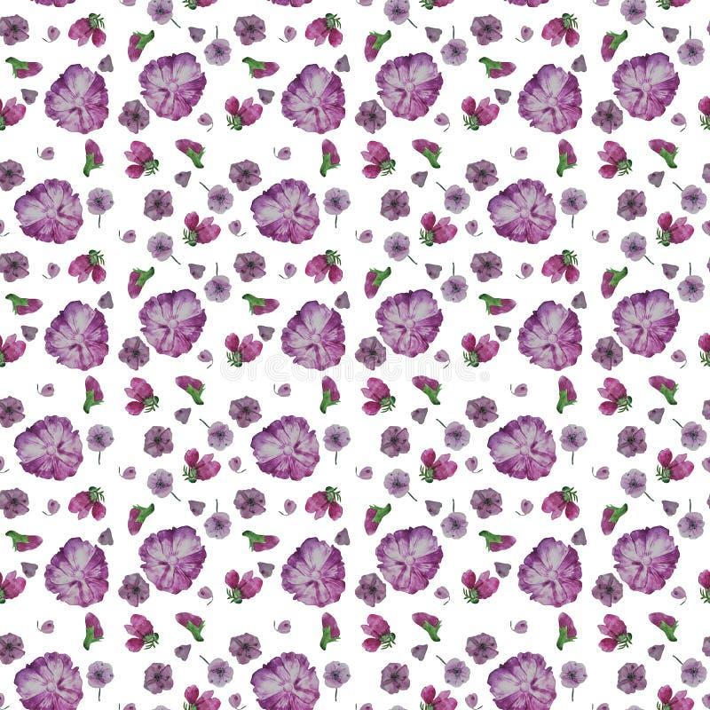 Watercolor botany flowers. Seamless pattern stock illustration