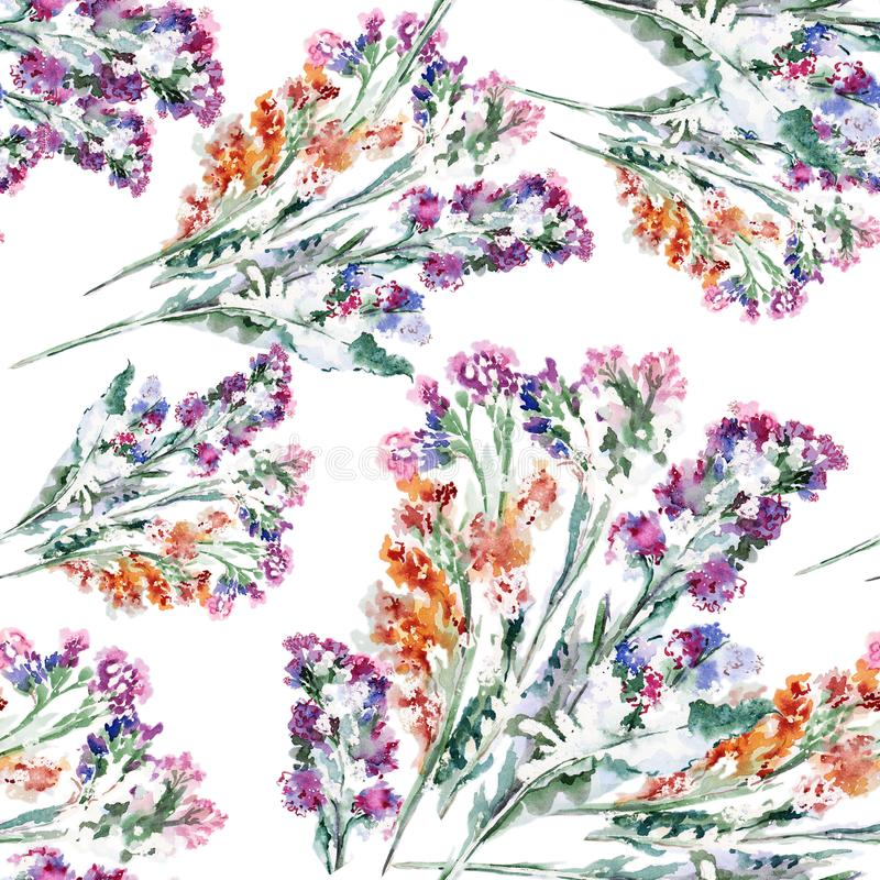 Watercolor bouquet colorful flowers. Floral seamless pattern. royalty free illustration